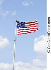 hermoso, norteamericano, cielo, bandera, debajo