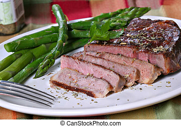 asado parrilla, carne de vaca, Ribeye, espárrago