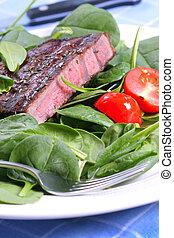 asado parrilla, carne de vaca, Ribeye, filete, espinaca