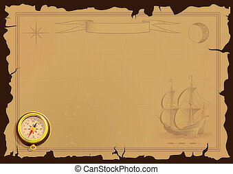 old map background with ship and compass
