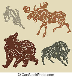 Wild forest animals - Abstract silhouette forest animals