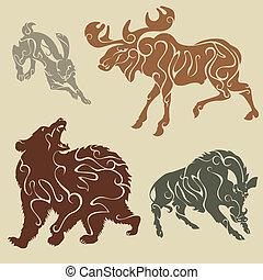 selvagem, floresta, animais