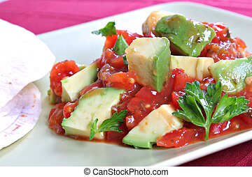 Avocado over Pico de Gallo Salsa Sauce with Tortilla Wrap