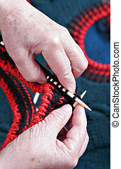 Senior Hand Knitting Close-up