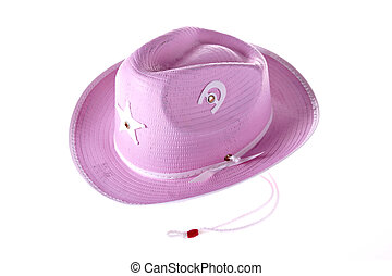 Pink Cowgirl's hat - pink cowgirls hat on isolated...