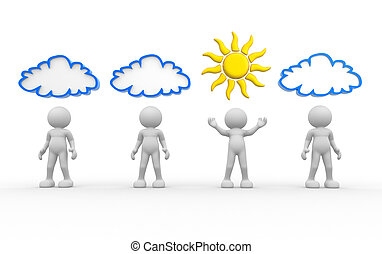 Sun and cloud - 3d people- human character with sun and...