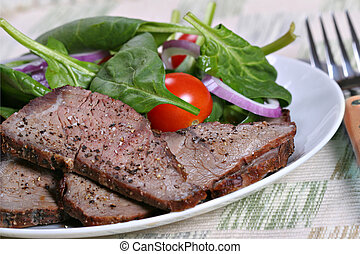 beef sirloin and spinach