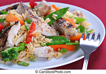 Chicken Stir Fry Rice with Vegetables