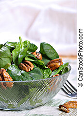 Spinach Salad Bowl with Nuts - Spinach Salad Bowl with...