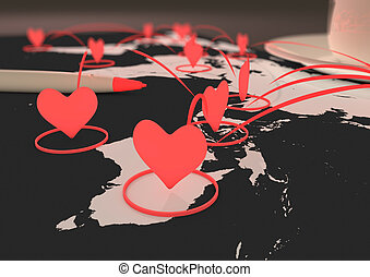 Online dating concept - render of a network of heart symbols