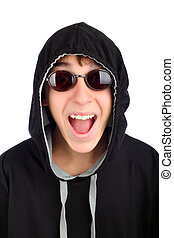 amazed teenager - happy teenager in sun glasses isolated on...