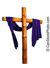 Wooden Cross Isolated - Wooden Cross with Purple Cloth...