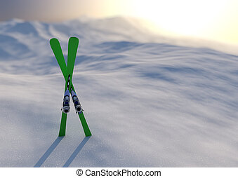 Winter sport - render of a pair of skis in a snowy landscape