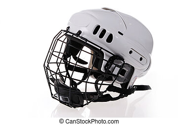 white hockey helmet isolated on white background