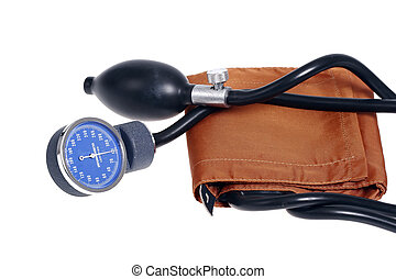old fashion blood pressure meter isolated on white...