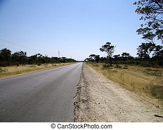 African road - A tarred road in need of maintenance in the...