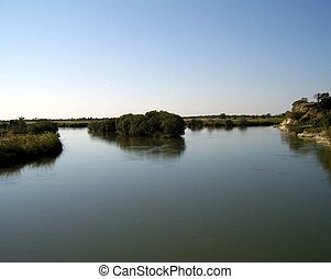 African river flowing. - The Zambezi river in Southern...