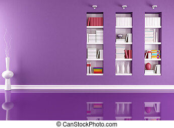 empty interior with bookcase - Purple minimalist empty...
