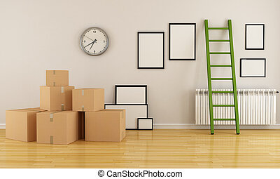 Moving house - home interior with cardboard boxes ladder and...
