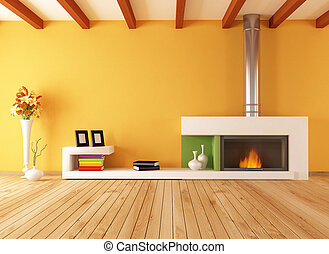 empty interior with minimalist fireplace - bright empty...