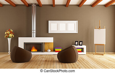 modern interior with fireplace - brown living room with...