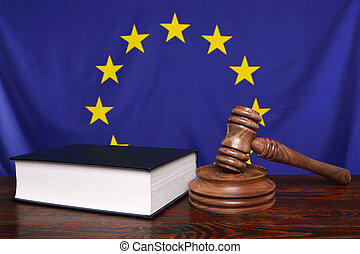 European law - Still life photo of a gavel, block and law...