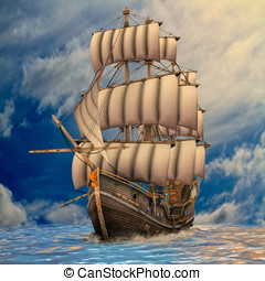 Tall Ship sailing in rough seas - Tall ship under full...