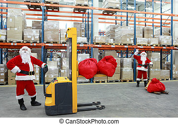 santa clauses workers portrait