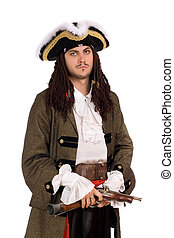 young man in a pirate costume - Portrait of young man in a...