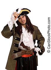 portrait, jeune, homme, pirate, déguisement