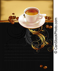 cup of coffee with ornate elements, this illustration may be...