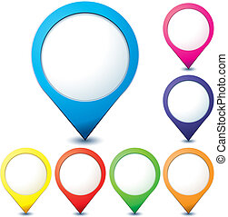 Set of colorful map pionter icons for any needs over white,...