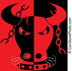 red-black background angry bull
