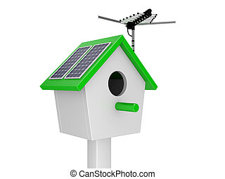 Starling house with theantenna and