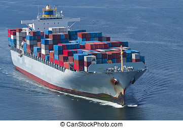 Container Ship - An aerial view of a container ship