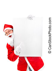 santa claus - amazed santa claus with big blank card