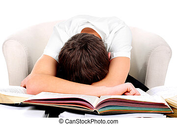 tired student - tired teenager lying and sleeping on the...