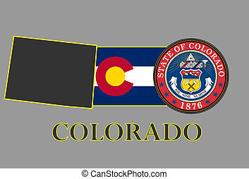 Colorado state map, flag, seal and name