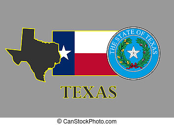 Texas state map, flag, seal and name.