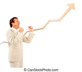 Successful businessman cheering with a curve going up
