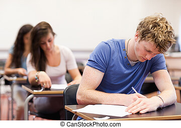 Students having a test in a classroom
