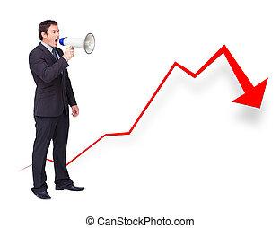 Unsuccessful businessman using a megaphone