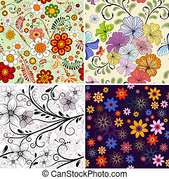 Set seamless floral pattern - Set seamless decorative floral...