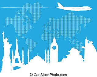 Traveling around the world - Travel background. All elements...