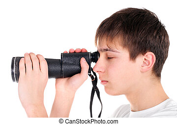 teenager with monocle isolated on the white