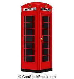The British red phone booth isolated on a white background