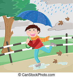 boy in the rain - boy with umbrella running happily in the...