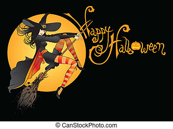 halloween witch jn full moon