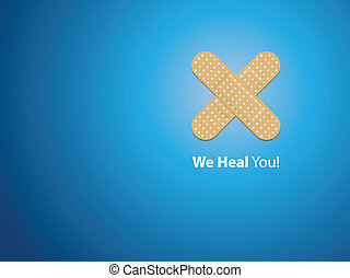 We heal you - blue background