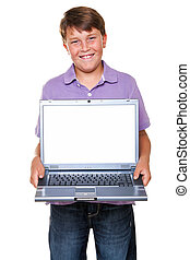Boy with laptop blank screen